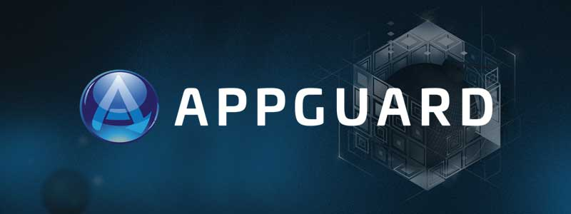 "AppGuard logo banner, An ""A"" with arrow for a leg and tech looking illustrated box with a blue background."