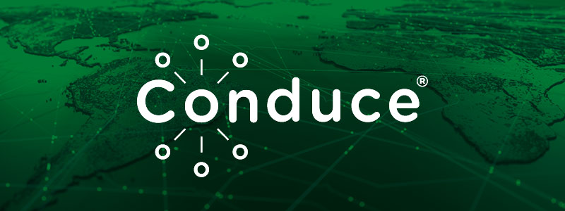 Conduce logo banner, a flat 3D view of the world with lines indicating travel.